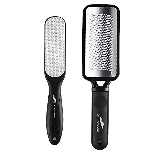 Foot Files Callus Remover 2 Pcs Stainless Steel Foot Rasp and Dual Sided Foot File Professional Pedicure Tools Premium Foot Scrubber