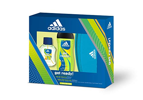 Adidas Get Ready! Set para Hombre, Contiene: Neceser Adidas + Get Ready! Eau de Toilette 50 ml + Get Ready! Body Hair Face 3 in 1 Shower Gel 250 ml