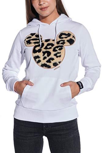Course Damen Hoodie Original Mickey Mouse Flock Fake Fur Animal Print Leo Disney, Weiß, M