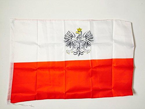 AZ FLAG Bandiera Polonia con Aquila 90x60cm - Bandiera Polacca con Stemma 60 x 90 cm Foro per Asta