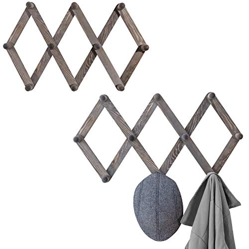 MyGift Set of 2 Wall-Mounted Rustic Gray Wood Expandable Accordian 10-Peg Coat Rack