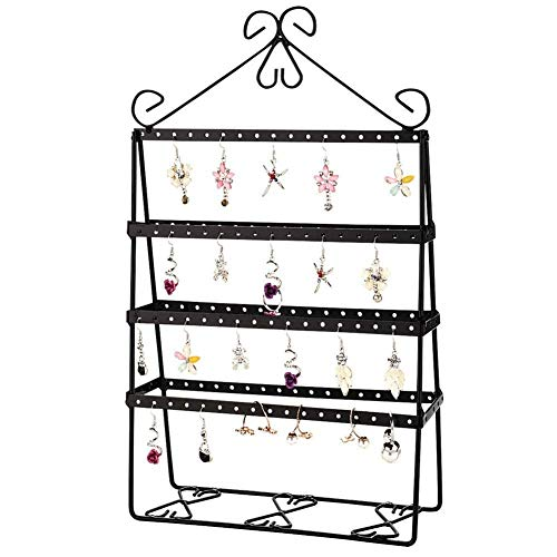 Plushfarm 4 Layer 112 Holes Hold Up to 56 Pairs Stud Earring Double-Side Earring Holder Stand Women Jewelry Display Stand Rack Shelf Metal (Color : Black)