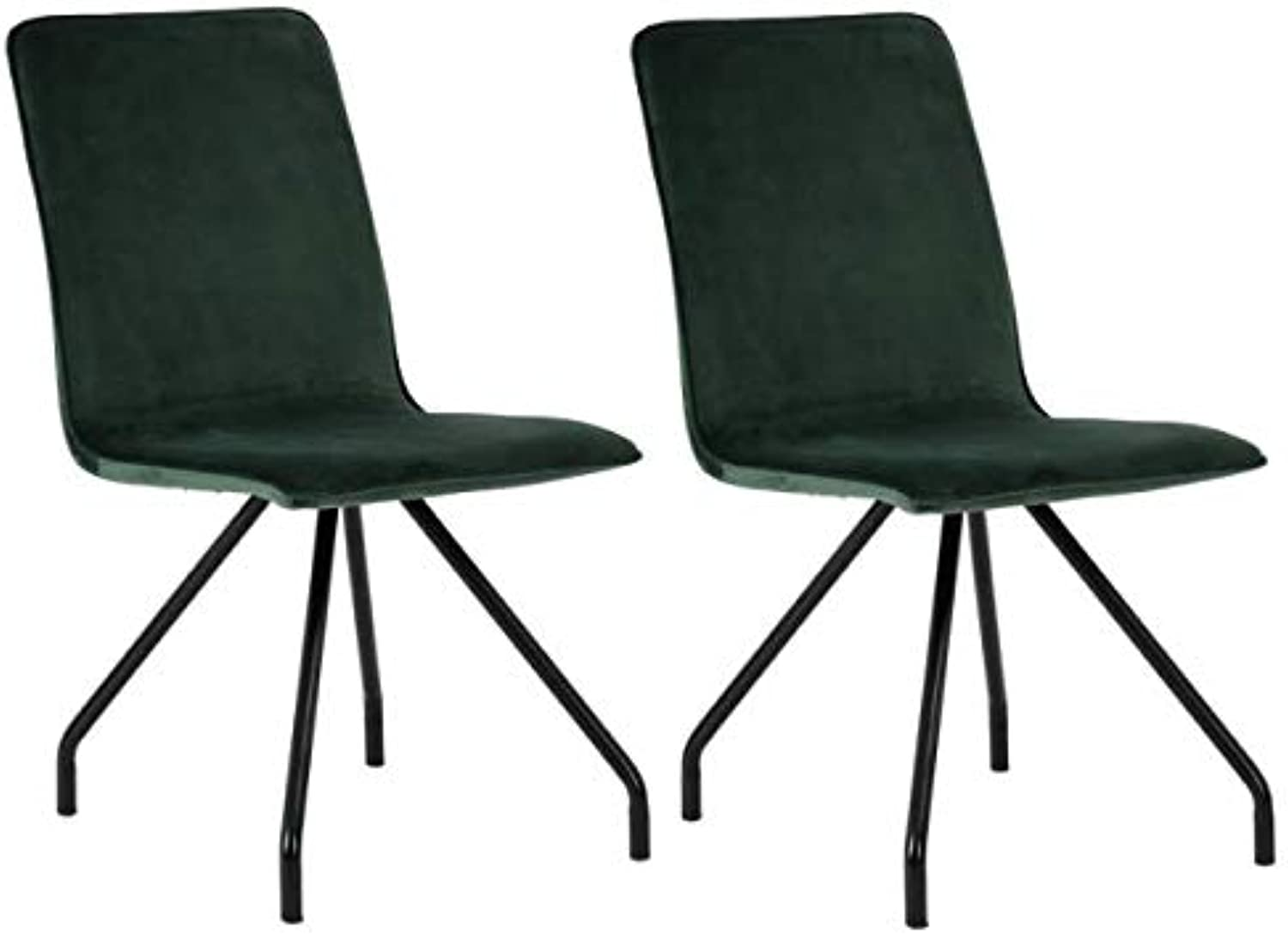 Homy Casa Dining Chairs Velvet Set of 2 Eiffel Living Room Side Chairs with Metal Legs,Green