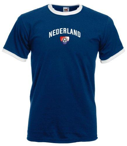 Fruit of the Loom Nederland/Holland Team Flag Herren T-Shirt Retro Trikot Navy L