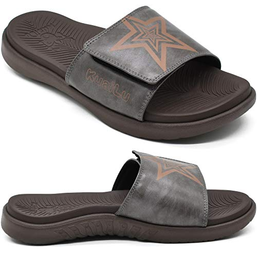 KUAILU Sandalias Hombre Verano Chanclas de Cuero Ajustables Zapatos Deportivo Ortopedicas Comodas Plantillas Piscina Playa Zapatillas Abiertas