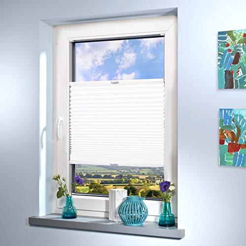 Sun World Plissee nach Maß, hochqualitative Wertarbeit, für Fenster & Türen, alle Größen, Maßanfertigung, Jalousie, Faltrollo (Farbe: Weiss, Höhe: 161-170cm, Breite: 111-120cm)