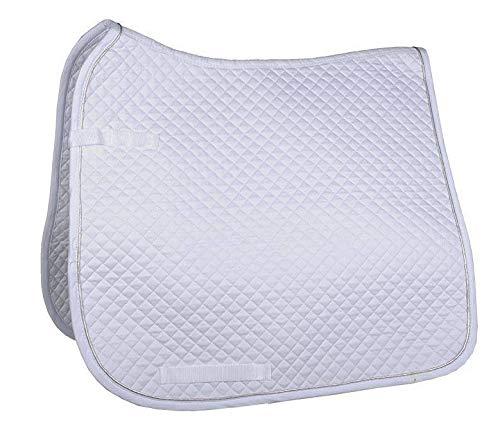 HKM Schabracke, klein gesteppt, Dressur, weiß/Silber, Vollblut/Warmblut