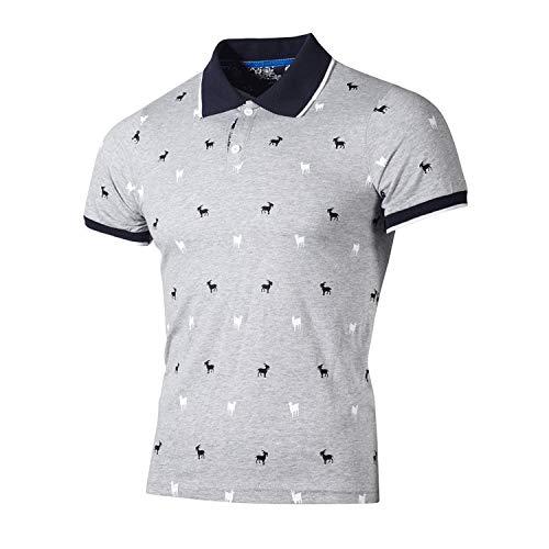 CFWL Herren Revers T-Shirt Trenddruck GroßE T-Shirt Kurzarm T-Shirt Kariert Hawaii Herren-Hemd Slim-Fit Kurzarm-Hemden Herren-Leinenshirt,Schmale Passform Grau XL