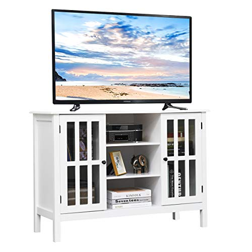 Tangkula Wood TV Stand Classic Design Storage Console Free Standing Cabinet for TV up to 45quot TV Cabinet Media Center Home Living Room Furniture TV Stand Media Cabinet White