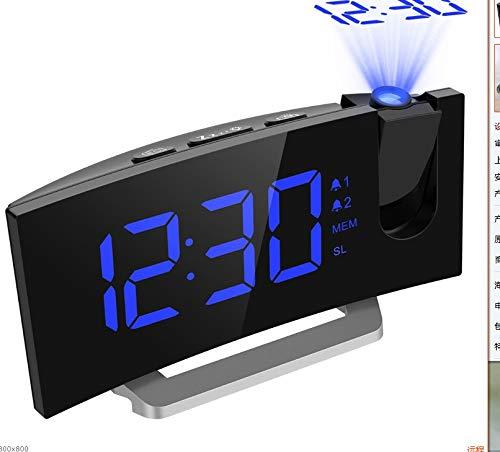 DYHM reveil Double réveil à projection LED Écran incurvé à DEL de 5 pouces 4 sons Fonction de...