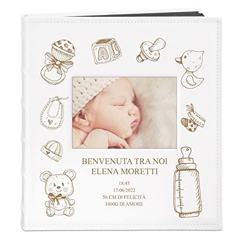 Maverton Album Foto - Copertina in Pelle Sintetica Bianca con Finestra - Personalizzazione ad...