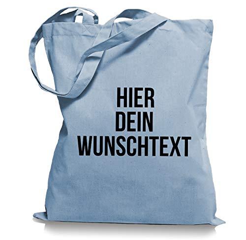Stoffbeutel Jutebeutel mit Wunschtext/Selber gestalten mit dem Amazon T-Shirt Designer/Beutel Druck/Designertool Tragetasche/Bag/Jutebeutel WM1-skyblue