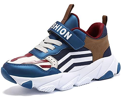 Scarpe Sportive Bambini e Ragazzi Scarpe da Corsa Ginnastica Respirabile Mesh Running Sneakers Fitness Casual(H Blu Marrone,32 EU)