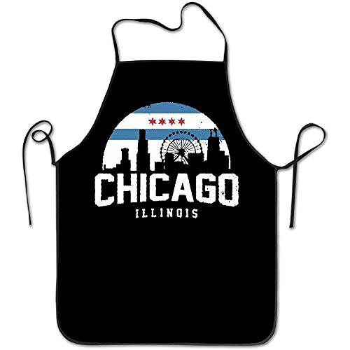 Chicago City Flag Skyline USA Frauen Männer Küche Latzschürze Bäckerei Maniküre Shop mit verstellbarem Hals Kochschürze