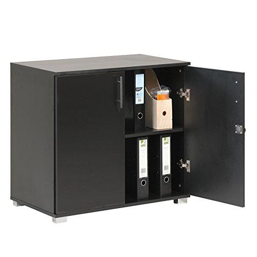 MMT Furniture Designs - Armario de oficina con 2 puertas y cerradura (73 cm de altura), color negro