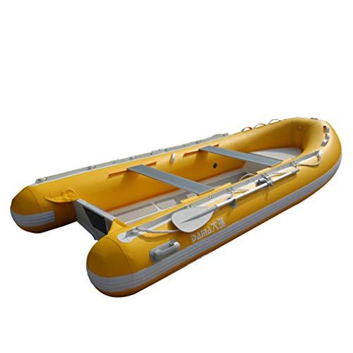 SHZJ Kayak Inflable para 6 Personas Y Kayak De Mar. Conjunto con Parte Inferior De AleacióN De Aluminio Resistente Al Desgaste, Resistente, Accesorios, Palas, Zapatos, Cubierta, Ancla, Yellow