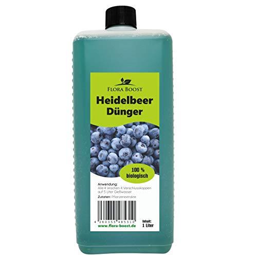 Flora Boost Heidelbeer Dünger flüssig - Heidelbeer Pflanzen düngen wie die Profis - Für bis zu 200 Liter Gießwasser - Blaubeer Dünger(1000 ml)