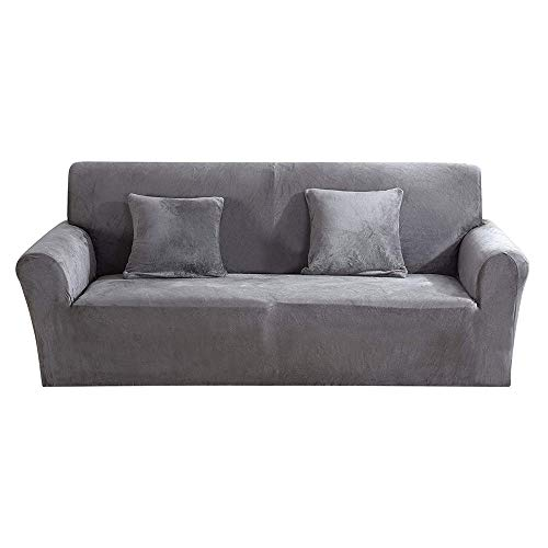 Jetcloud Thick Sofa Covers 1/2/3 Seater Velvet Plush Sofa Slipcover Easy Fit Stretch Elastic Fabric Sofa Couch Furniture Protector (Grey, 195-230cm)