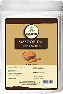 Naturevibe Botanicals Masoor Dal (Indian Red Lentils), 4lbs | Non-GMO and Gluten Free | Rich in Protein and Fiber