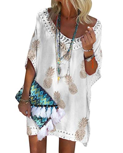 Minetom Damen Kurzarm V-Ausschnitt Retro Bikini Cover Up Strandkleid Bikinikleid Beachwear Lose Spitze Drucken Mini Kleid A Weiß 46