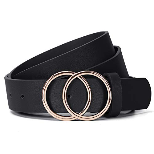 JasGood Damen Ledergürtel Mode Doppel O-Ring Schnalle Gürtel für Jeans Hosen Kleider, Schwarz, Hosengröße 109cm-118cm