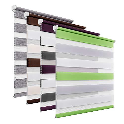 BelleMax Doppelrollo Klemmfix, Stoff, 60 x 120 cm, Weiß / Grau / Grün