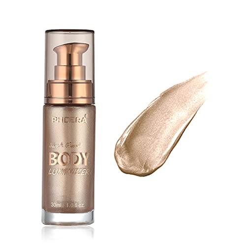 Freeorr 3 Colors Body Luminizer, Feuchtigkeitsspendend Highlighter Creme für Gesicht und Körper, Schimmer Make-up Flüssigkeit Aufhellen, Body Glow Illuminator -101 Rose Gold