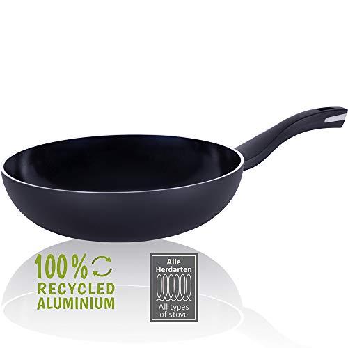 Berndes Pfanne 28 cm, b.Green Alu Recycled Induction, Wokpfanne hergestellt zu 100% aus recycelten Getränkedosen, schwarz