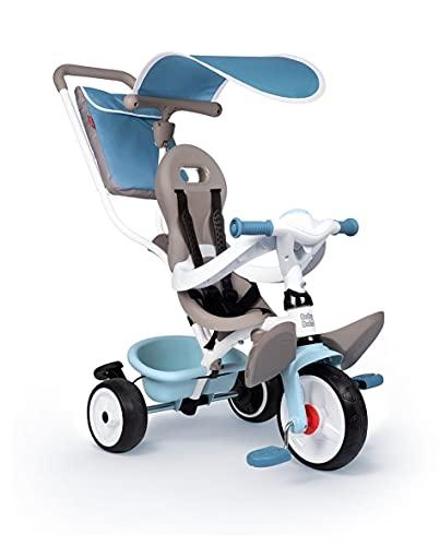 Smoby 7600741400 - Baby Balade blau - Mitwachsendes Kinderdreirad mit Schubstange, Sitz mit Sicherheitsgurt, Metallrahmen, Pedal-Freilauf, für Kinder ab 10 Monaten