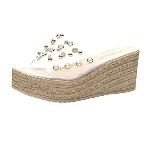 Sencillo Vida Chanclas de Piscina Transparente para Mujer Plataforma con Cuña Zapatillas de Estar por Casa Cómodos Sandalias de Punta Descubierta Zapatos de Playa Bohemia Romanas Verano 2019