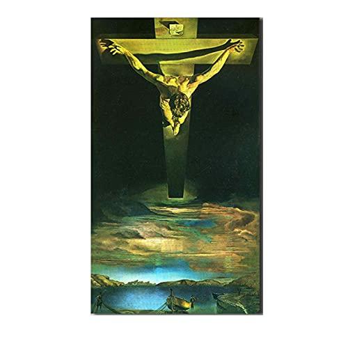 Pozino Cuadro de Lienzo Salvador-Dali-Cristo-de-San-Juan-de-la-Cruz Arte de Pared para decoración del hogar Pintura al óleo sobre Lienzo póster 60x90cm