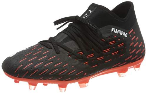 PUMA Future 6.3 Netfit FG/AG Jr, Chaussure de Football, Black White-Shocking Orange, 36 EU