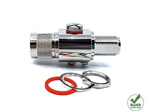 KONECT Coaxial Lightning Arrestor RF Surge Protector Adapter 3GHz N Male to N Female HAM 50ohm 230V Gas Tube