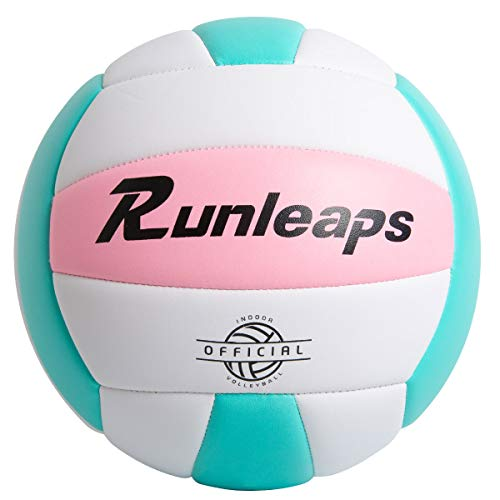 Runleaps Soft Indoor Volleyball Waterproof Volleyball Light Touch Recreational Ball for Pool Gym Indoor Outdoor (Pink/Light Blue, Size 5)