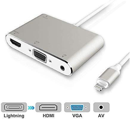 HDMI VGA AV Adapter Converter, 2019 Latest 4 in 1 Plug and Play Digtal AV Adapter Compatible for iPhone X / 8 / 8Plus/7/7Plus/6/6s/6s Plus/5/5s iPad iPod to Projector HDTV Projector Monitor (White)