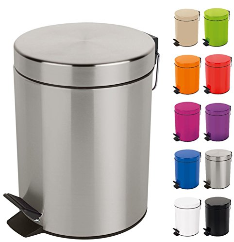 Spirella Kosmetikeimer Sydney Silber Mülleimer Treteimer Abfalleimer - 5 Liter – mit herausnehmbaren Inneneimer
