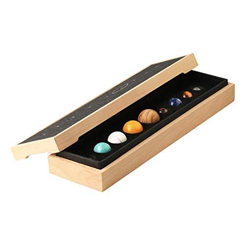 MAYOKIAAR Sonnensystem, 9 Planetensteine mit Holzsockel, Schreibtisch-Dekoration, handgefertigt, natürlicher Edelstein, Kugel-Set, Universum, Galaxie, Himmlisches kreatives Geschenk