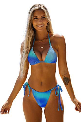 arttranson Bikini,Two Piece Swimsuit for Women,Tie-Dyed and Velvet Bathing Suit Blue