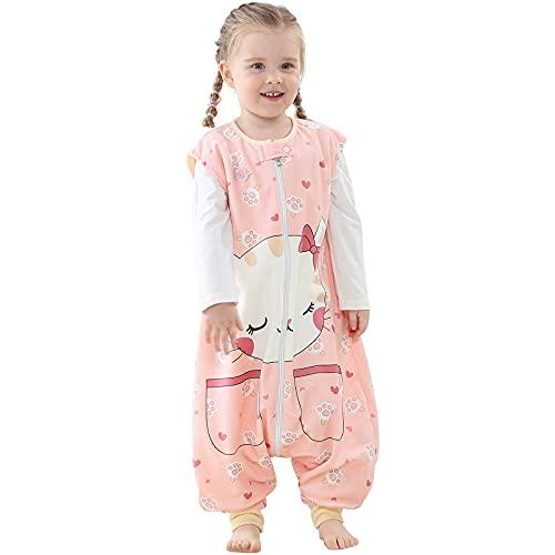 Riou Baby Winter Schlafsack mit füßen, Mädchen Junge Flanell Warm Babyschlafsack ohne Ärmel mit Beinen Overall Schlafanzug (1-3 Jahre, Gelb)