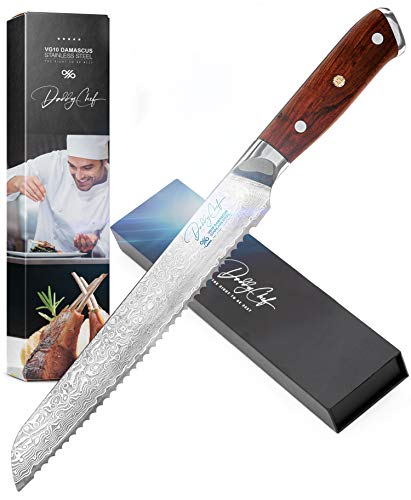 Daddy Chef Serrated Bread Knife 8 inch - Offset kitchen slicer knives from Japanese VG10 67 Layer Forged Damascus Carbon Stainless Steel - Large carving knife for Bagel Baguette and Cake