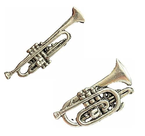 Set mit 2 Trompeten und Kornett (Musik), handgefertigt aus englischem Zinn, Abzeichen und Geschenktüte + 59 mm Abzeichen