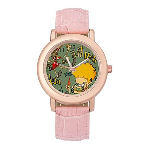Beavis and ButtheadLadies Reloj de cuarzo de cuero con correa 2266 espejo de cristal redondo rosa accesorios casuales moda temperamento 1.5 pulgadas