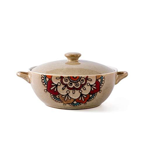 Huwelijksgeschenken 8-inch Bowl, groente kaas kom Bowl Pot van de Soep Household tafelgerei Voedsel Container dubbel handvat Porseleinen schaal met deksel Keukenaccessoires-kommen