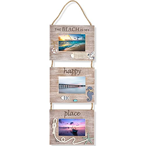 Juvale Beach Picture Frame Hanging Decoration for 3 4x6 Photos (9.25 x 29.5 x 0.25 in)