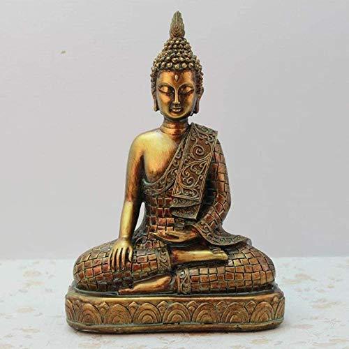 CQQO Decoración Resina Buda Estatua Tailandesa Golden Buda Estatua Decoración Inicio Tunrine Casa Casa Mal Evil Spirits 17.5 × 8.5 × 23.5cm Ornamento Artesanal Decoraciones De Buda Artesanía