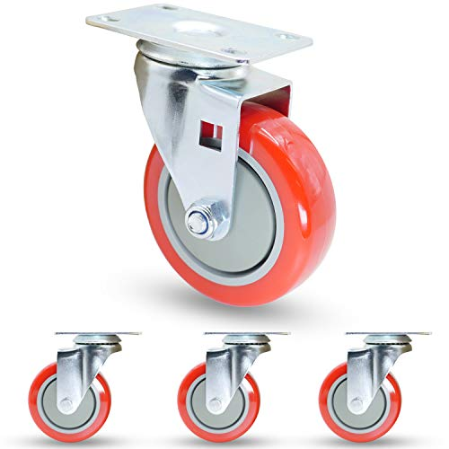 "Casoter 4"" Red Swivel PU on PP Caster, Top Plate Mounted Double Ball Bearing Polyurethane on Polypropylene Wheel Set, Smooth Silent Sturdy Heavy Duty Total 1200Lbs Load Capacity Pack of 4"