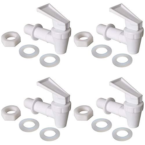 Replacement Cooler Faucet 4 White Water Dispenser Tap Set. BPA Free Plastic Spigot.
