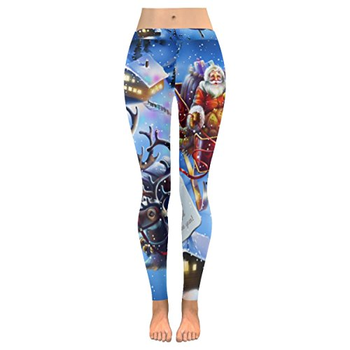 InterestPrint Christmas Santa Claus Custom Stretchy Capri Leggings Skinny Pants for Yoga Running Pilates Gym XL