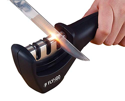 FLYNGO Manual Knife Sharpener 3 Stage Sharpening Tool for Ceramic Knife and Steel Knives