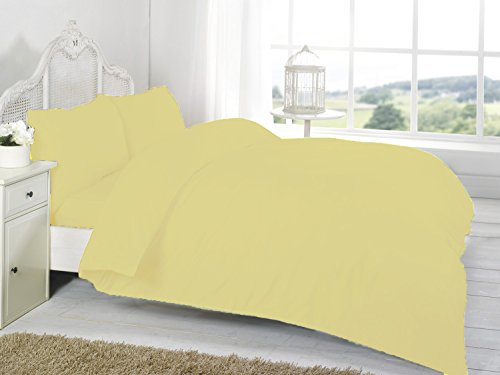 Homefurnishing Plain Dyed Bed Linen Duvet Quilt Cover Set with Pillow Case (Single, Lemon)